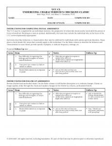 Underlying Characteristics Checklist - Classic